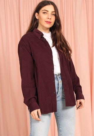 VINTAGE 80S OVERSIZED CORDUROY SHIRT IN MAROON