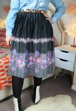 Vintage 90s Crazy Funky Floral Flowery Pleated Skirt Grunge
