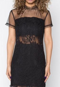 Sexy Black Lace Shift Dress With Cut Out Detail