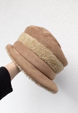Vintage Bucket Hat 90s Y2K Boho Chic Streetwear Beige Fuzzy