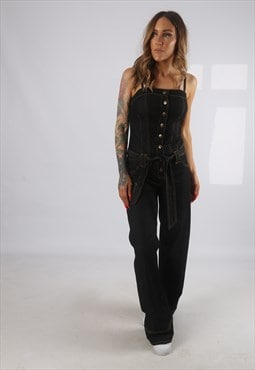 Vintage Denim Jumpsuit Wide Leg UK 10 Small  (H2J)