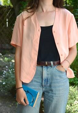 1980s Vintage Pastel Peach Minimal Short Sleeve Shirt