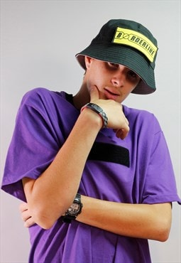 Unisex black bucket / sunhat hat - Yellow patch