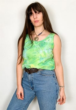 Vintage Tie Dye Green Cotton Embroidered Top