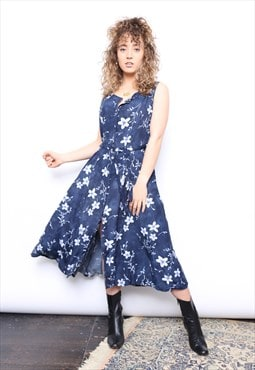 Vintage 90s Blue Floral Print Midi Button Dress