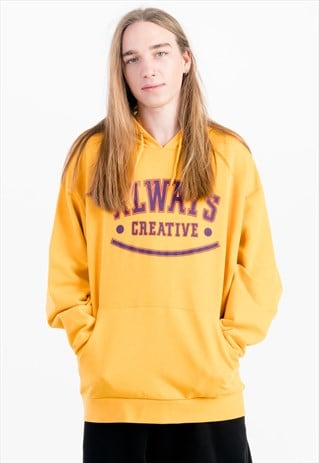 OVERSIZED PRINTED HOODIE IN YELLOW WITH POUCH POCKET