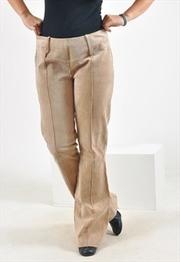 Vintage suede leather flares trousers in beige