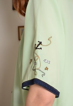 Vintage 90s Nautical Sailor Inspired Chiffon Shirt in Green