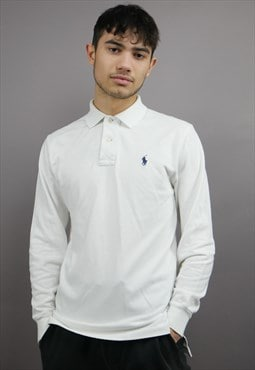 Vintage Ralph Lauren Long Sleeved Polo Shirt in White