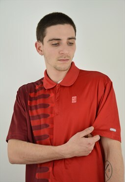 Vintage Nike Tennis Polo Shirt in red color for men