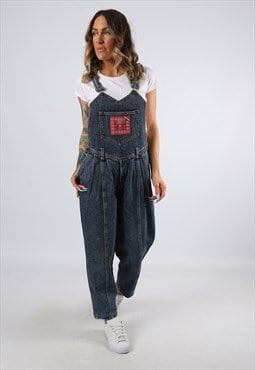 Denim Dungarees GUESS Wide Tapered Leg UK 10 Small (C92S)