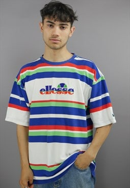 Vintage Ellesse Tee Shirt In Multi With Spell out Logo