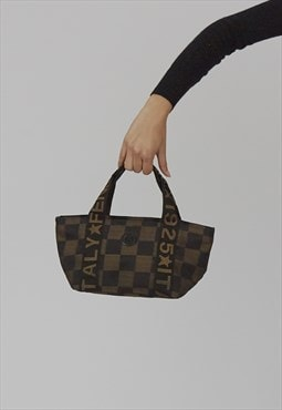 Vintage Y2K Fendi checkerboard fabric mini tote
