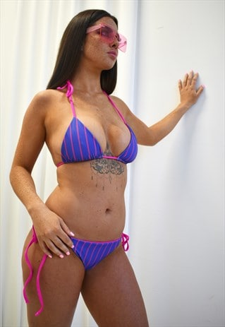 REVERSIBLE HOT PINK STRIPE BIKINI