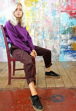 Cord Trousers & Plum Crop Sweat Co-ordinates