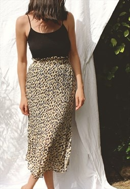 Pleated Midi Skirt In Blue Leopard Print