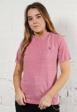 Vintage Polo Ralph Lauren T-Shirt in Pink w/ Logo - Small