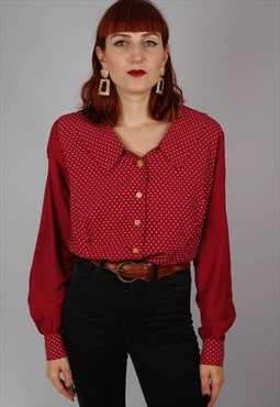 Vintage 80s polka dot collar blouse