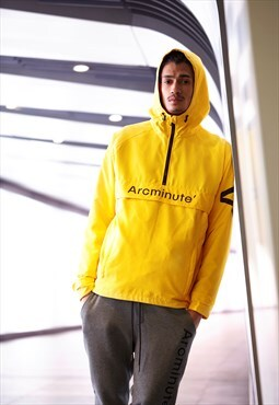 Yellow Windbreaker With Black Arcminute Logo