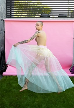 Tulle skirt in maxi design in pink, yellow and mint