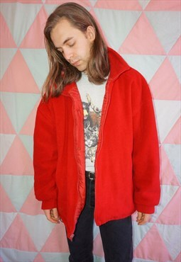Vintage 90s Lined Thick Red Fleece