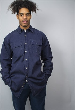 VINTAGE CARHARTT NAVY BLUE DENIM HEAVY THICK SHIRT