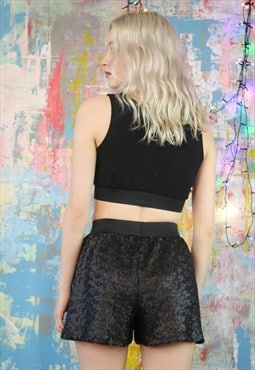 Shorts in Matt Black Sequins