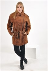 Vintage suede leather coat in brown