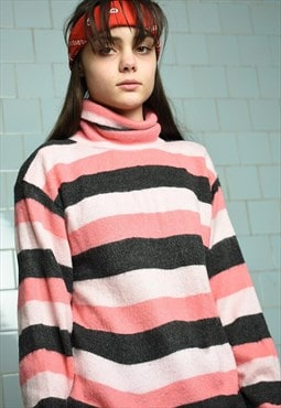 Vintage 70s retro knit rollneck striped jumper pullover