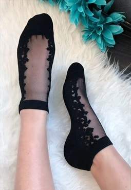 Black Sheer Top Socks