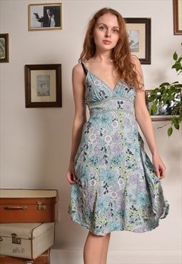 Vintage 80s Floral Halterneck Midi Dress in Green