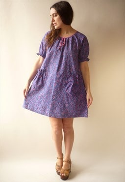 1970's Vintage Puff Sleeve Psychedelic Babydoll Night Dress