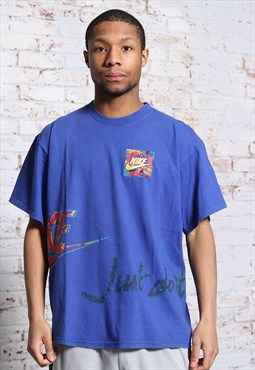 Vintage Nike Big Print Logo Rare T-Shirt Blue