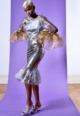 Ladies metallic silver bodycon organza ruffle-hem KRIO SKIRT