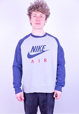 Vintage 90s Nike Air Spell Out Embroidered Sweatshirt Grey