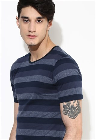 STRIPE T SHIRT GREY AND NAVY STRIPE SHIRT ORGANIC COTTON TOP