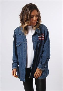 Denim Jacket USA Oversized LIGHTWEIGHT UK 16 (A73Q)
