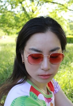 Aki Red Lens Retro Gold Frame Sunglasses