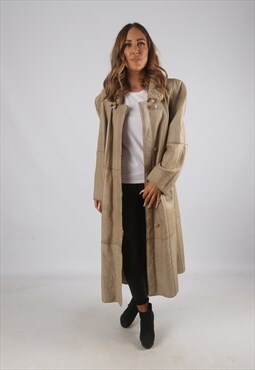 Vintage Sheepskin Leather Shearling Coat Long UK 16 (C9AN)