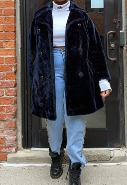 Vintage 80s Blue Faux Fur Coat
