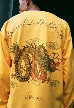 Long Sleeved T-shirt In Gold With Chinese Dragon Print