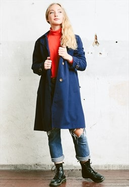Vintage 80s Navy Blue Oversized Trench Coat