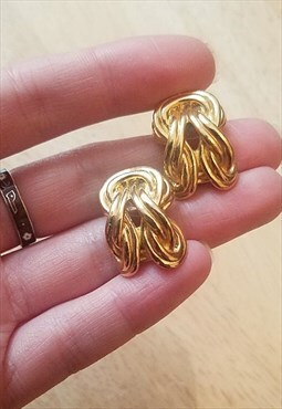 Vintage 90s gold knot twist earrings