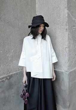 Irregular Three-Quarter Sleeve Shirt in White