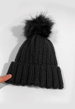 Faux Fur Bobble Knitted Ribbed Beanie Hat - Black