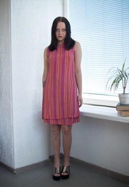 Vintage 90's Pink/Orange Striped Sleeveless Dress