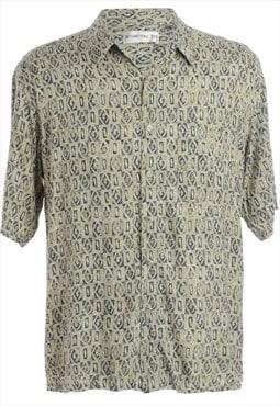 1990s Geometric Pattern Hawaiian Shirt - L