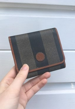 Unisex Vintage 80s Fendi wallet purse stripy monogram print