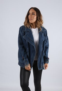 Vintage Denim Bomber Jacket Oversized Fitted UK 12 M (J2F)