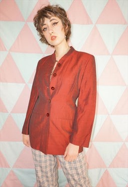 Vintage 90s Red Satin Linen Mix Collarless Blazer Jacket